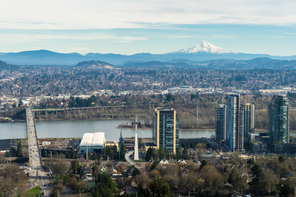 View of Portland and Mt. Hood