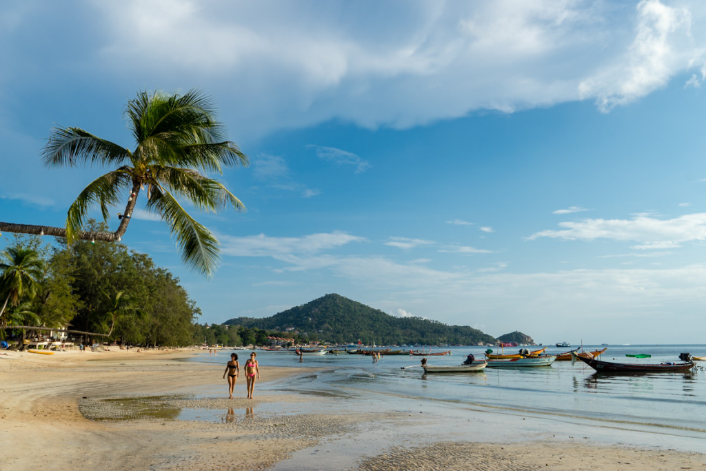 A wide smooth stretch of sand marks Sairee Beach on Koh Tao's western coast.